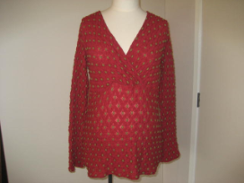 Red Long Sleeve Dress Top