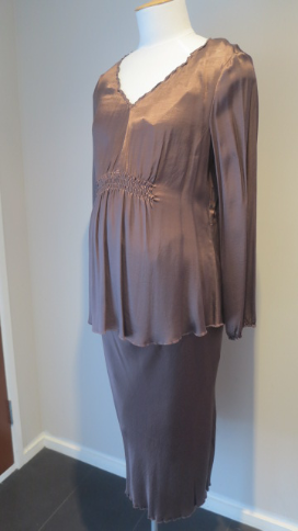 Brown Maternity Top and Skirt