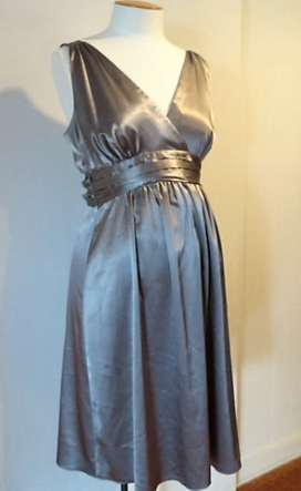 Pewter Deluxe Satin Evening Dress
