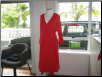 Red ruffle wrap designer maternity dress